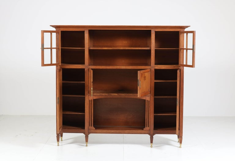 Arts and Crafts Oak Arts & Crafts Art Nouveau Bookcase with Beveled Glass, 1900s For Sale