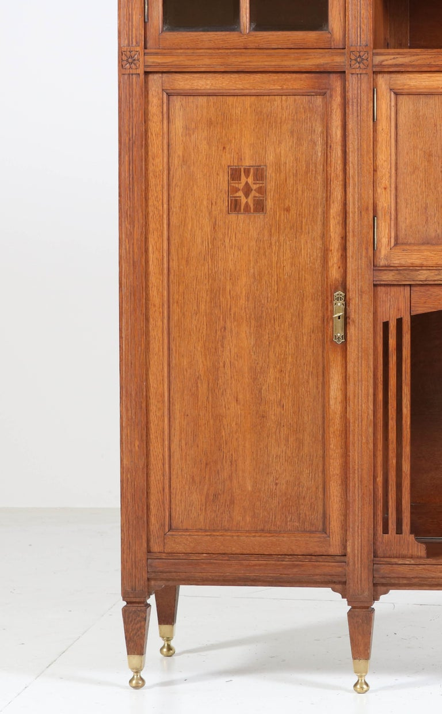 Dutch Oak Arts & Crafts Art Nouveau Bookcase with Beveled Glass, 1900s For Sale