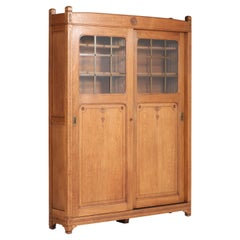 Oak Arts & Crafts Art Nouveau Bookcase with Original Sliding Doors, 1900s