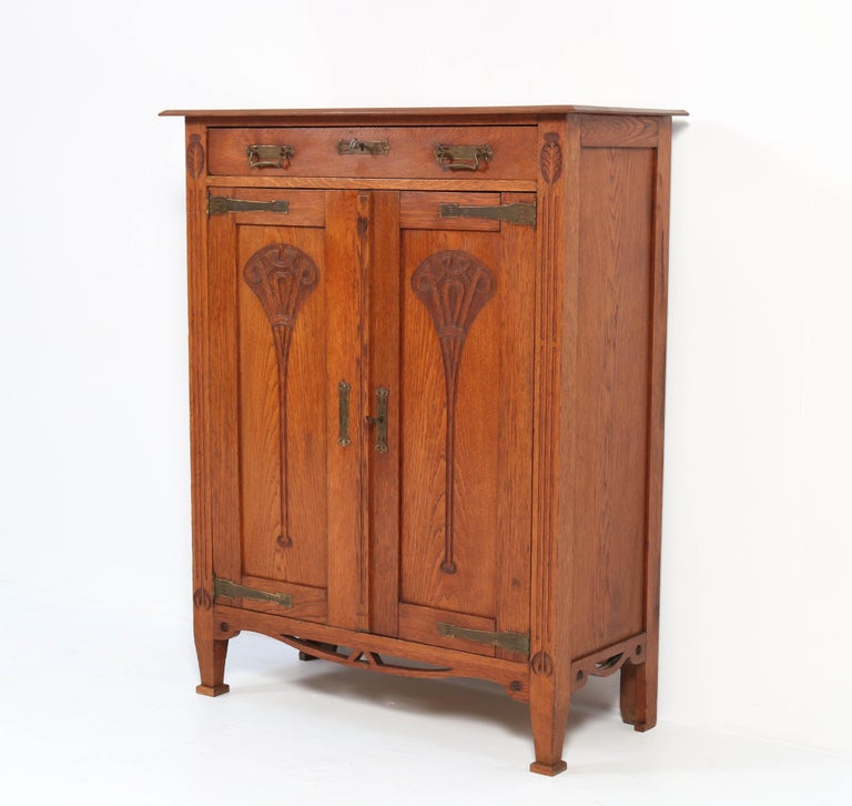 Dutch Oak Arts & Crafts Art Nouveau Cabinet, 1900s For Sale