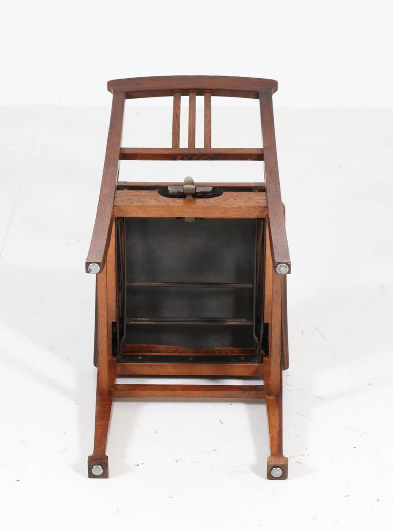Oak Arts & Crafts Art Nouveau Desk or Piano Chair, 1900s For Sale 3