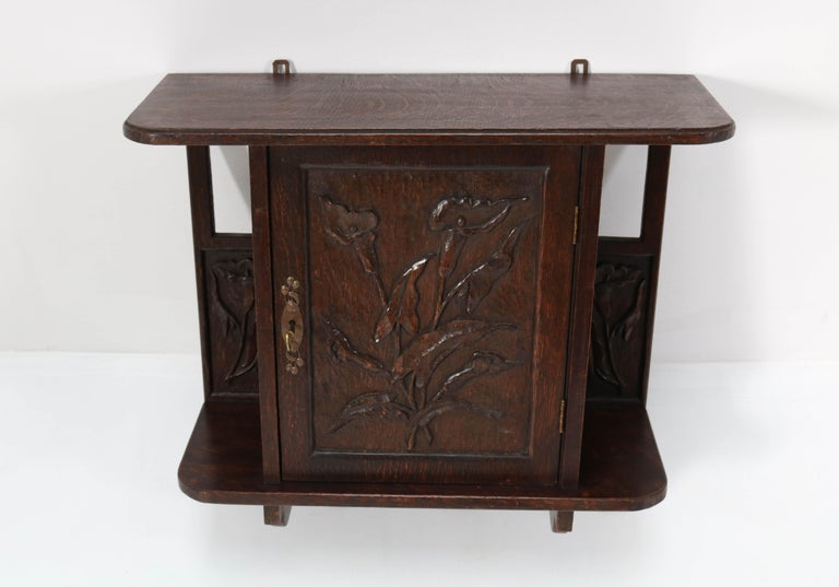 Arts and Crafts Oak Arts & Crafts Art Nouveau Wall Cabinet with Calla Lilies, 1900s For Sale