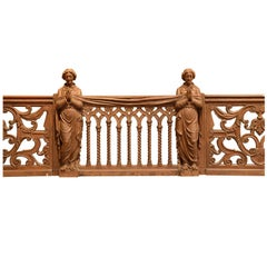 Oak Balustrade Neogothic Style, 19th Century