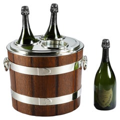 Oak Barrel Triple Champagne Chiller by Franz Hiess & Söhne of Vienna, 1920s