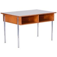 Oak Bauhaus Chrome Writing Desk by Kovona, Good Condition and Patina, 1940s
