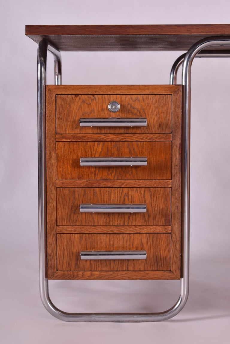 Oak Bauhaus Chrome Writing Desk by Thonet, Good Condition and Patina, 1930s For Sale 1