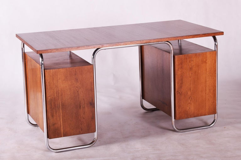 Oak Bauhaus Chrome Writing Desk by Thonet, Good Condition and Patina, 1930s For Sale 2