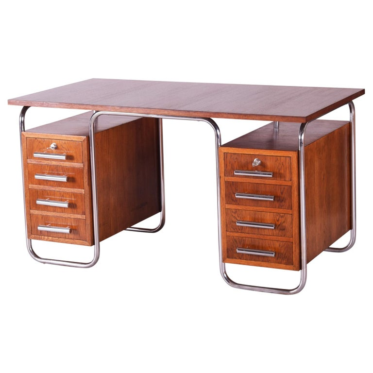 Oak Bauhaus Chrome Writing Desk by Thonet, Good Condition and Patina, 1930s For Sale