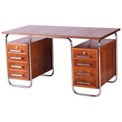 Oak Bauhaus Chrome Writing Desk by Thonet, Good Condition and Patina, 1930s