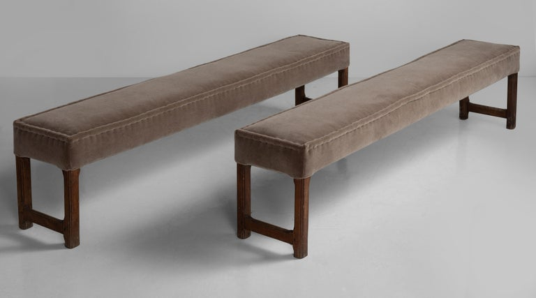 Oak Benches in 100% Wool Velvet In Good Condition In Culver City, CA