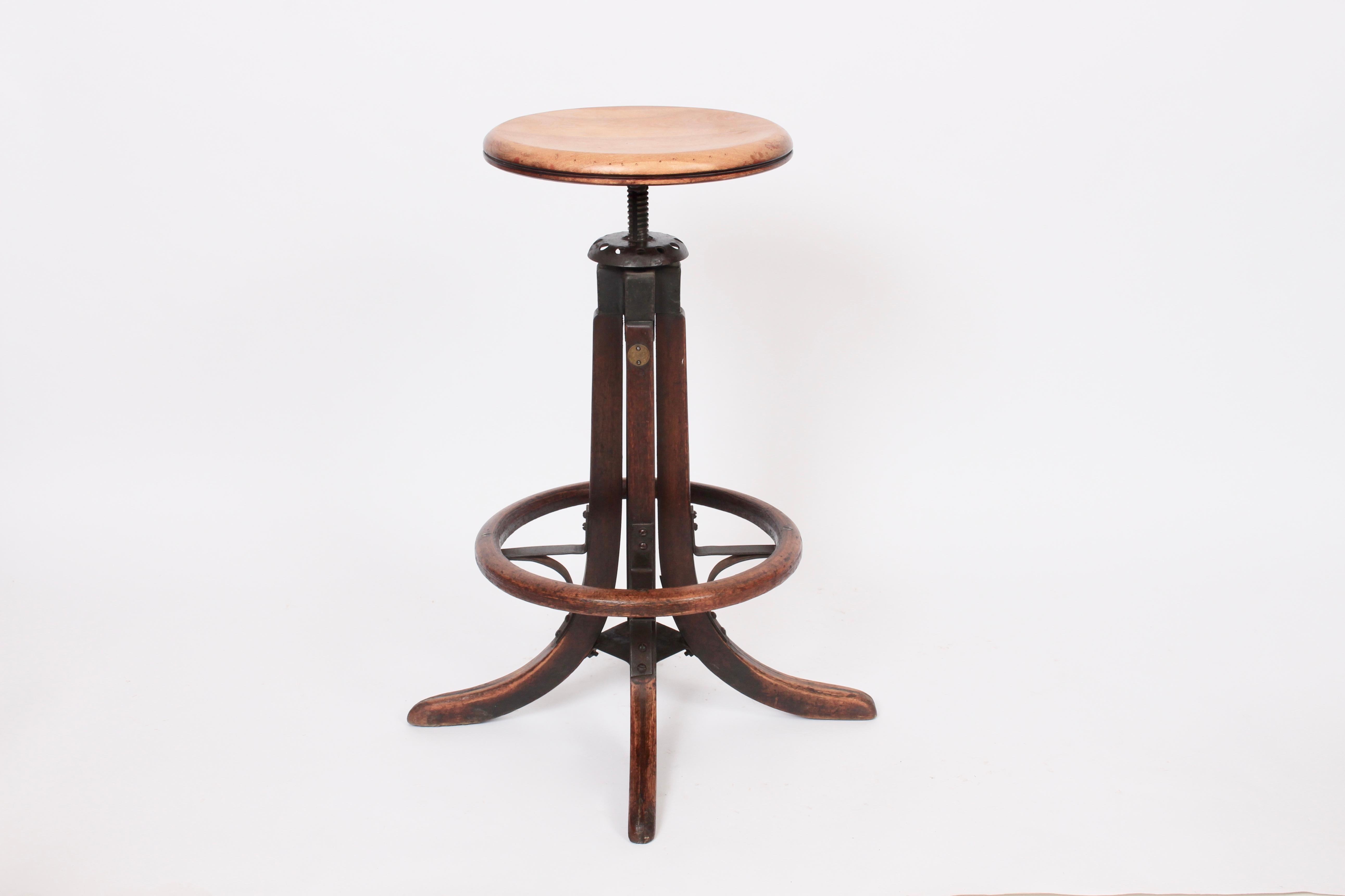 Super Oak Bentwood Adjustable Swivel Draftsman Stool With Foot Ring Circa 1920 Pabps2019 Chair Design Images Pabps2019Com