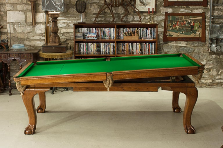 Oak Billiard, Snooker, Pool Table, Dinning Table by Riley For Sale 4