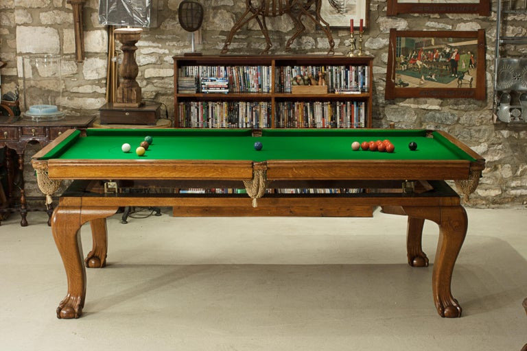 Oak Billiard, Snooker, Pool Table, Dinning Table by Riley For Sale 5