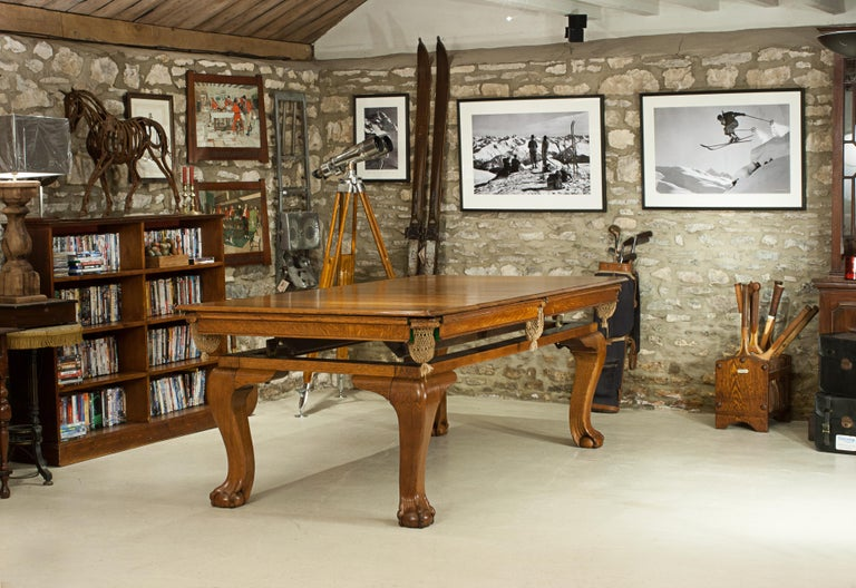 Oak Billiard, Snooker, Pool Table, Dinning Table by Riley For Sale 8