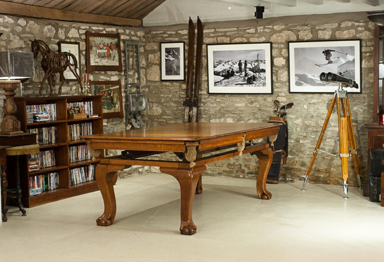 Oak Billiard, Snooker, Pool Table, Dinning Table by Riley For Sale 9