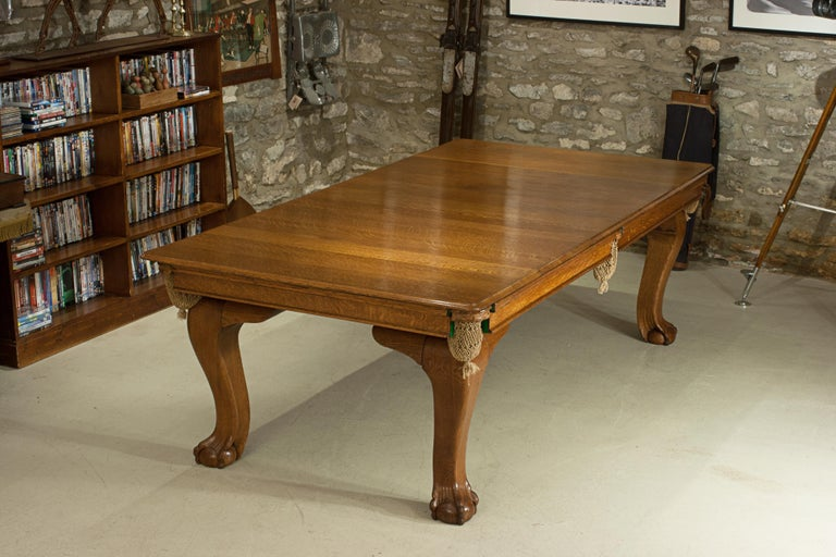 Oak Billiard, Snooker, Pool Table, Dinning Table by Riley In Good Condition For Sale In Oxfordshire, GB