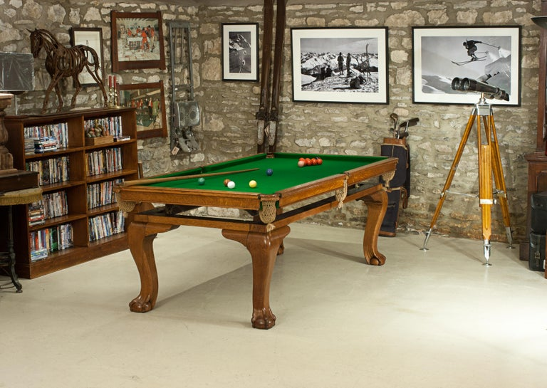 Late 19th Century Oak Billiard, Snooker, Pool Table, Dinning Table by Riley For Sale
