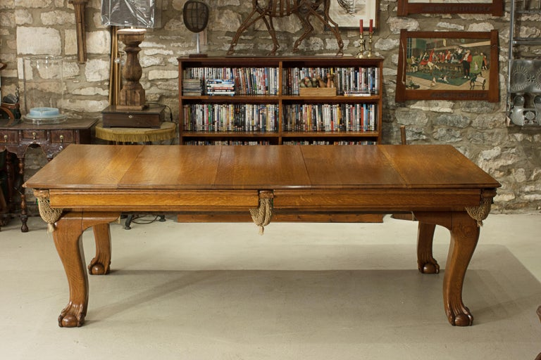 Oak Billiard, Snooker, Pool Table, Dinning Table by Riley For Sale 2