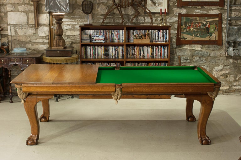 Oak Billiard, Snooker, Pool Table, Dinning Table by Riley For Sale 3