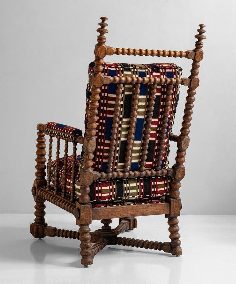 English Oak Bobbin Armchair in Chain Stitch Embroidery, England, circa 1890 For Sale