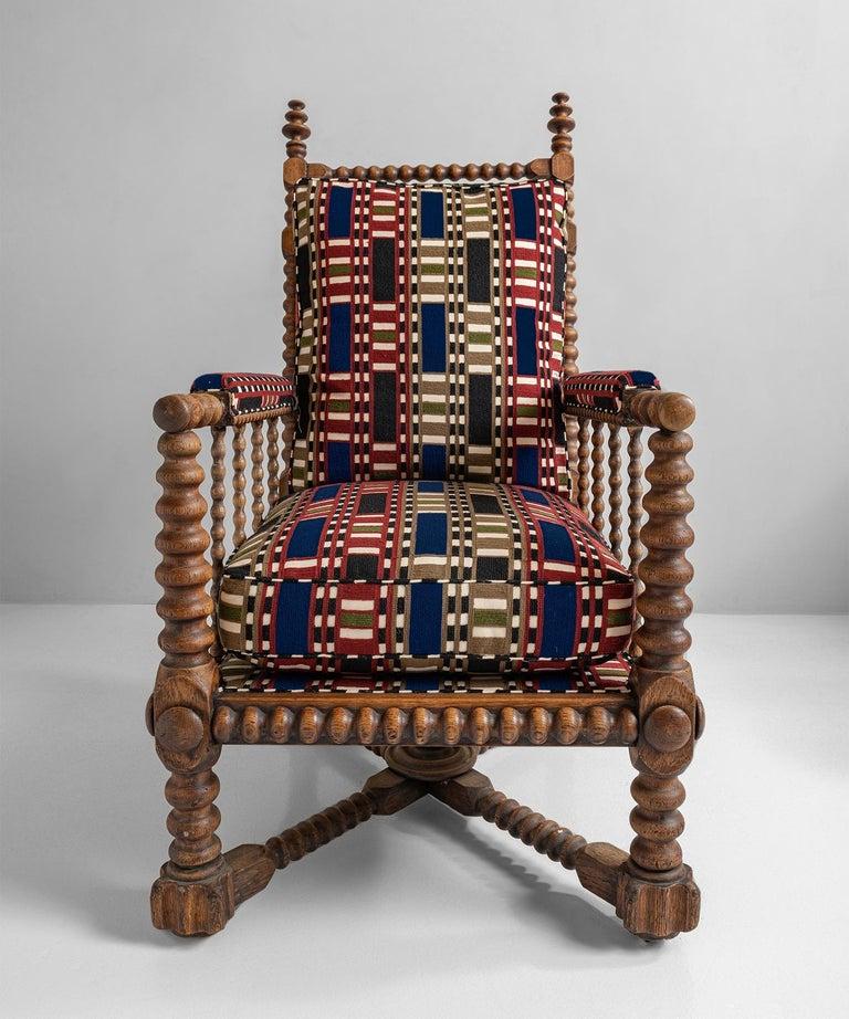 Oak Bobbin Armchair in Chain Stitch Embroidery, England, circa 1890 In Good Condition For Sale In Culver City, CA
