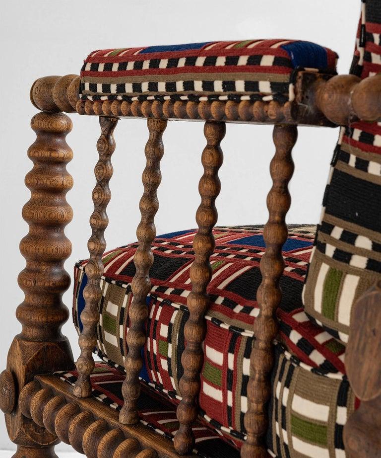 Late 19th Century Oak Bobbin Armchair in Chain Stitch Embroidery, England, circa 1890 For Sale