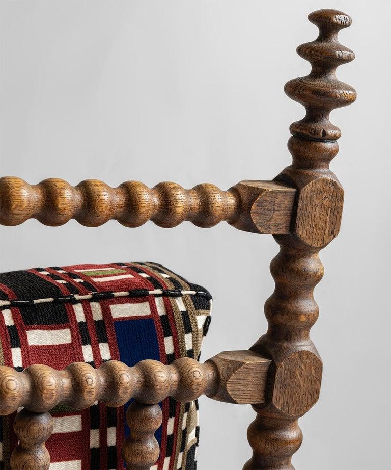 Wool Oak Bobbin Armchair in Chain Stitch Embroidery, England, circa 1890 For Sale
