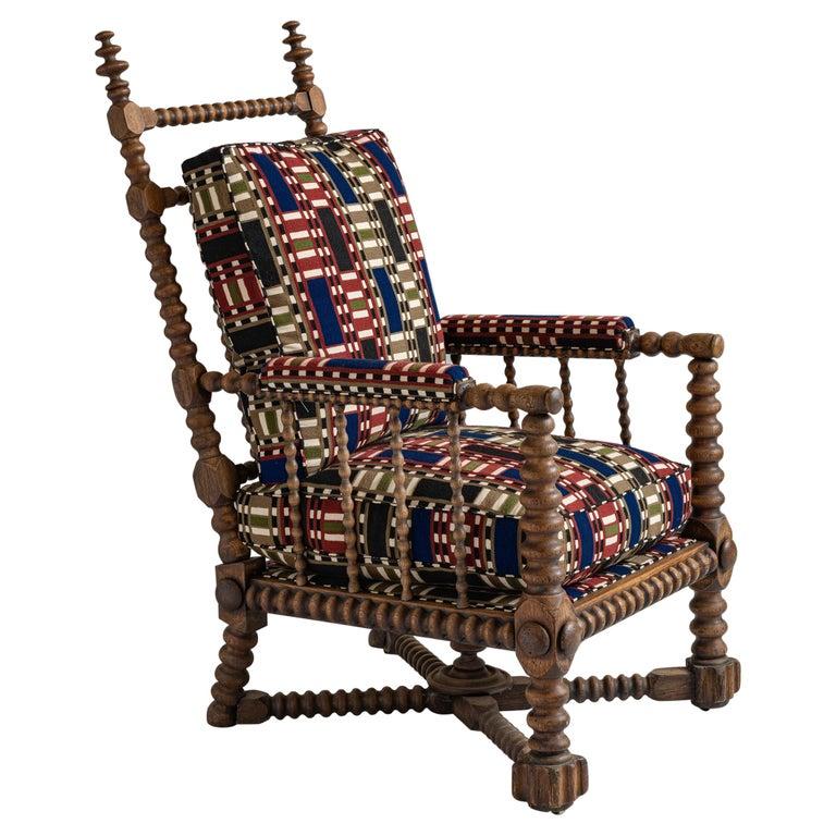 Oak Bobbin Armchair in Chain Stitch Embroidery, England, circa 1890 For Sale