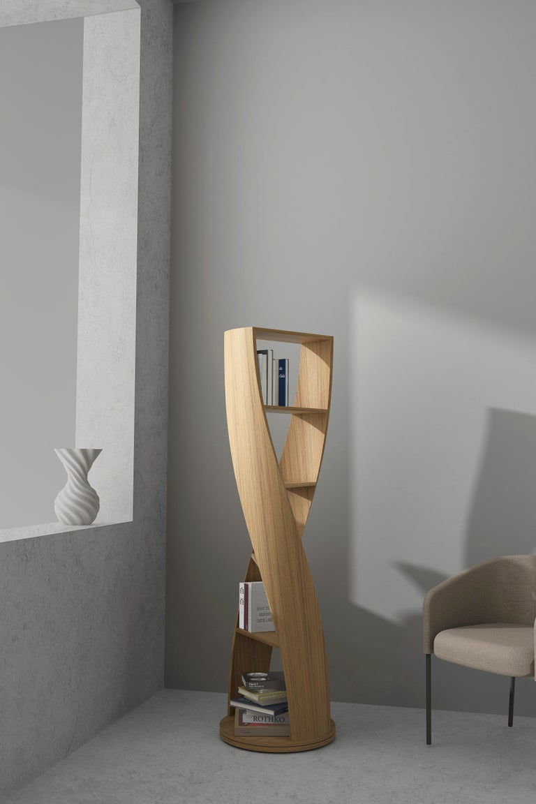 Mexican Oak Bookcase and Storage System MYDNA Collection by Joel Escalona For Sale