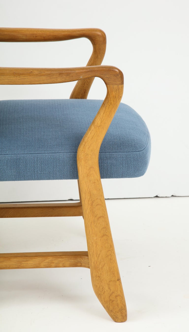 Oak 'Bridge' Armchairs by Guillerme et Chambron for Votre Maison, France, 1950s For Sale 6