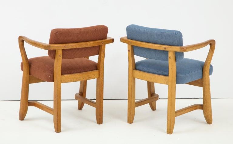 Mid-Century Modern Oak 'Bridge' Armchairs by Guillerme et Chambron for Votre Maison, France, 1950s For Sale