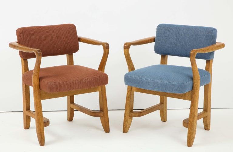 20th Century Oak 'Bridge' Armchairs by Guillerme et Chambron for Votre Maison, France, 1950s For Sale