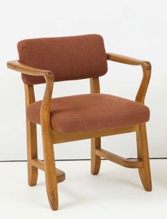 Mid-Century Oak Armchair by Guillerme et Chambron, France, 1950s
