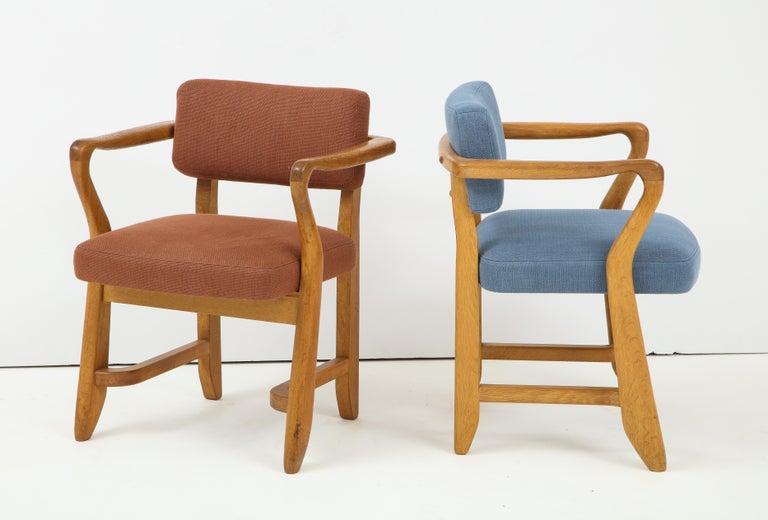 Linen Oak 'Bridge' Armchairs by Guillerme et Chambron for Votre Maison, France, 1950s For Sale
