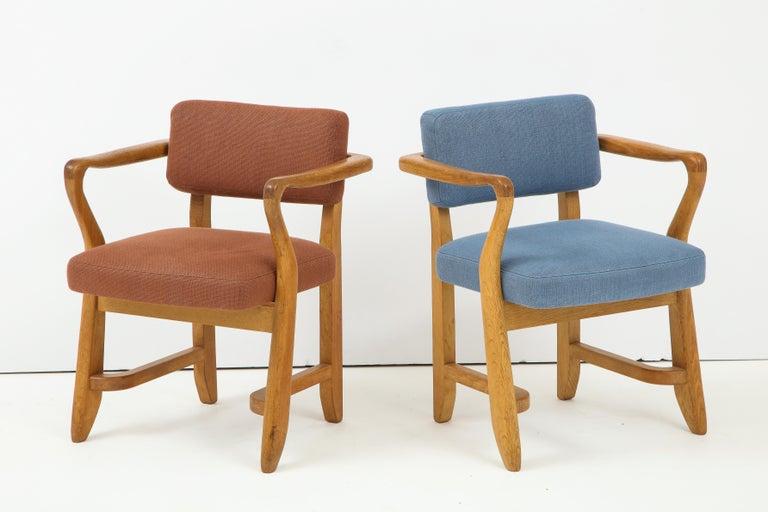 Oak 'Bridge' Armchairs by Guillerme et Chambron for Votre Maison, France, 1950s For Sale 1