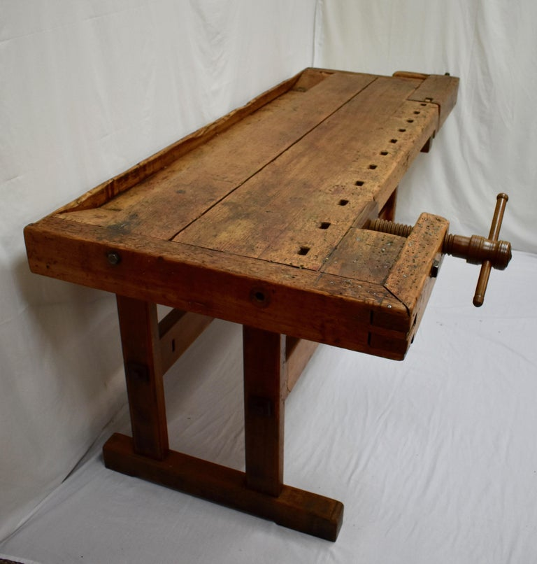 Industrial Oak Carpenter's and Joiner's Work Bench For Sale