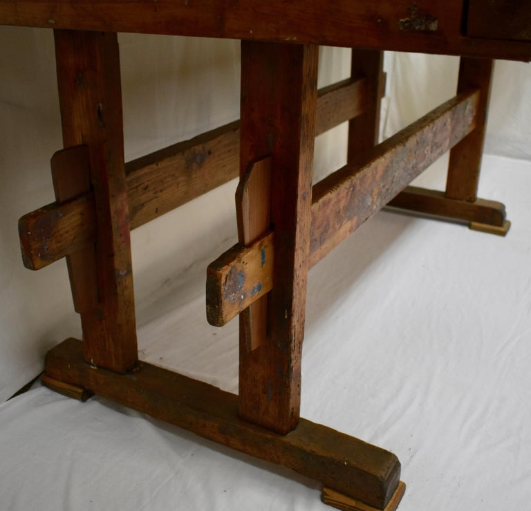 Polished Oak Carpenter's and Joiner's Work Bench For Sale