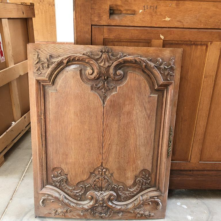 Brass French Provincial Carved Credenza with Pink Serpentine Marble Top France 1700s  For Sale