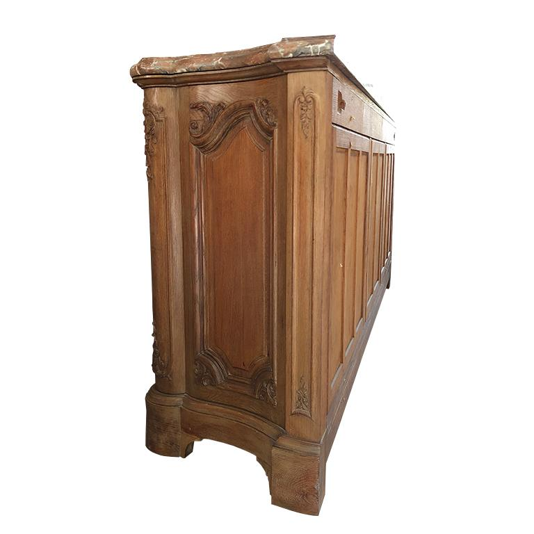 French Provincial Carved Credenza with Pink Serpentine Marble Top France 1700s  For Sale 1