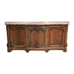 French Provincial Carved Credenza with Pink Serpentine Marble Top France 1700s