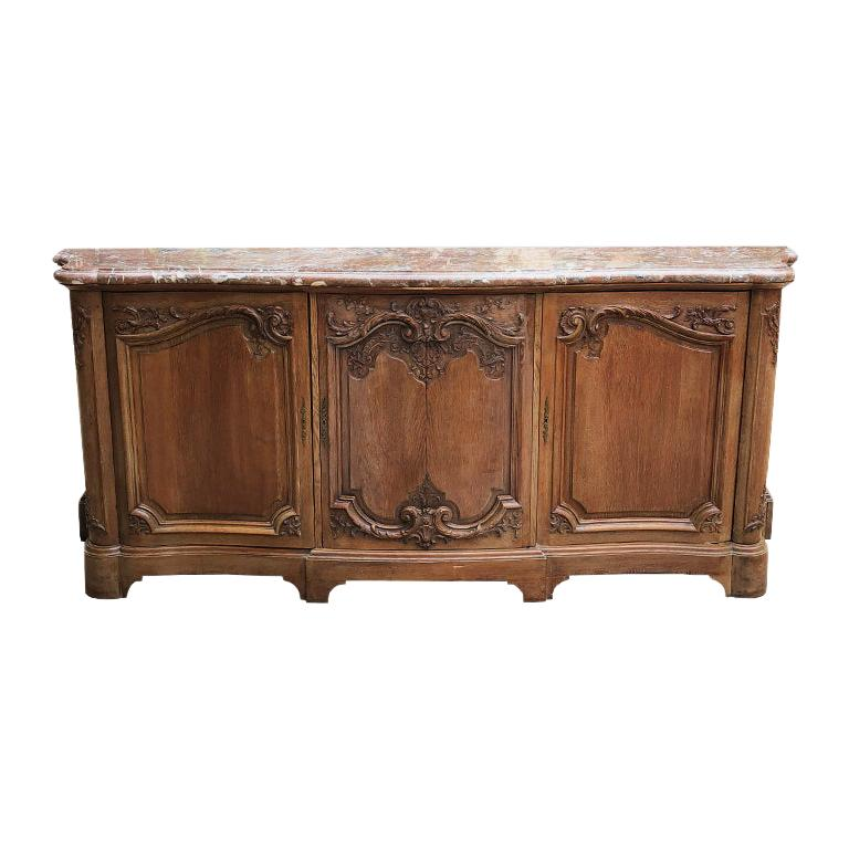 French Provincial Carved Credenza with Pink Serpentine Marble Top France 1700s  For Sale
