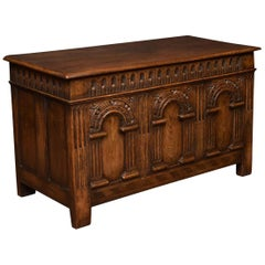 Oak Carved Coffer Chest