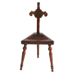 Oak Carved Renaissance Revival Tripod Chair with Leather Seat, 1900s