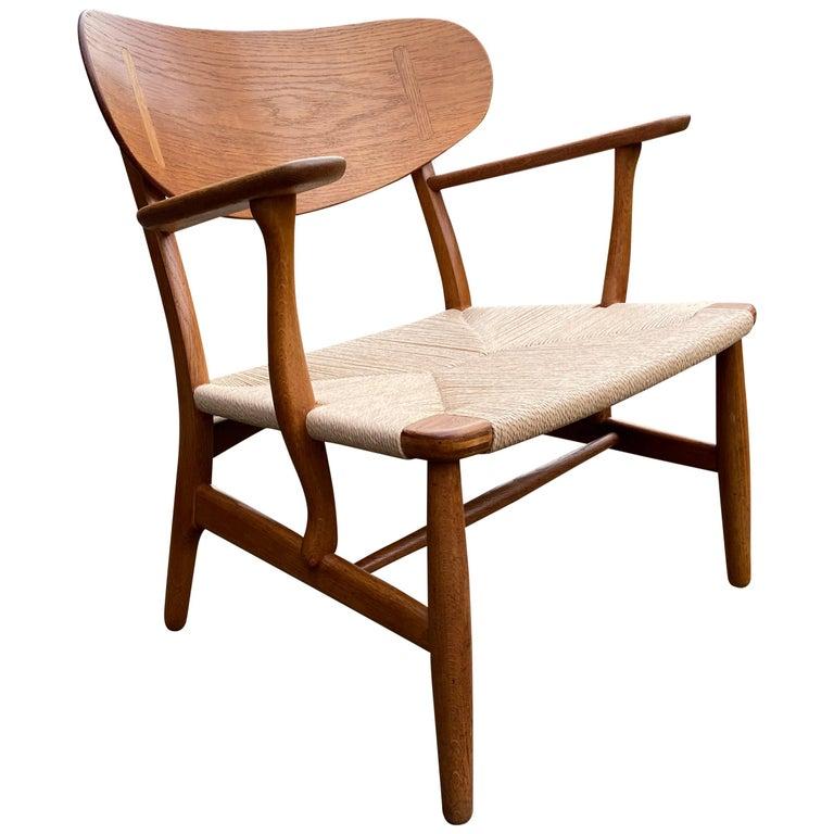 Oak CH22 Lounge Chair by Hans J. Wegner for Carl Hansen For Sale