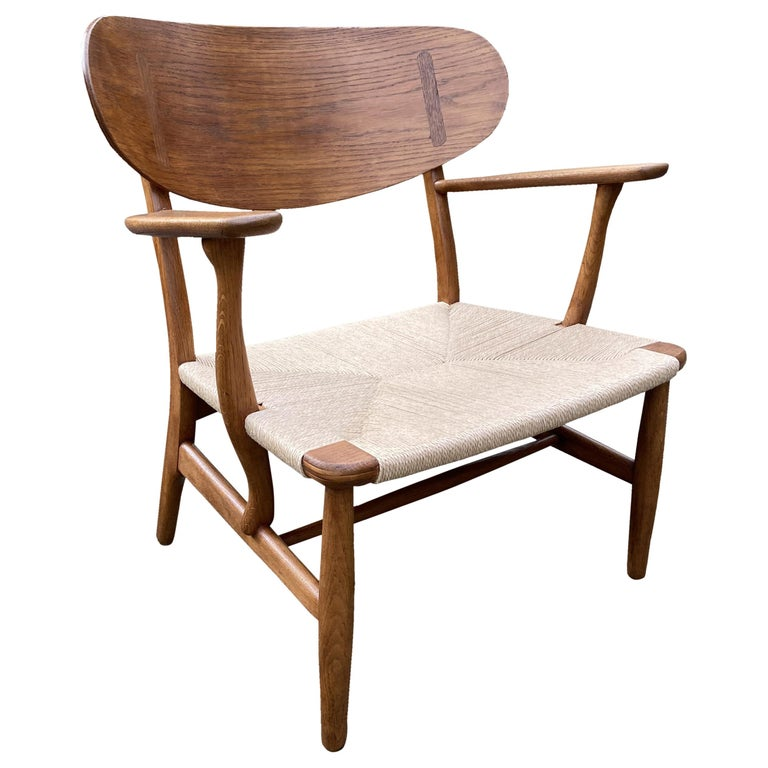Oak CH22 Lounge Chair by Hans J. Wegner for Carl Hansen For Sale