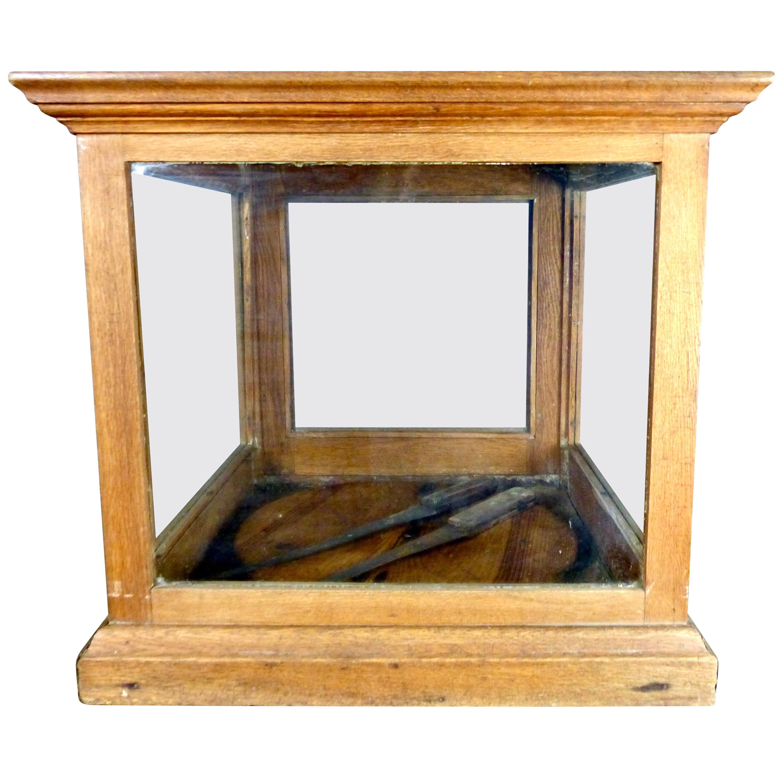 Oak Cheese Wheel Display Cabinet, circa 1900