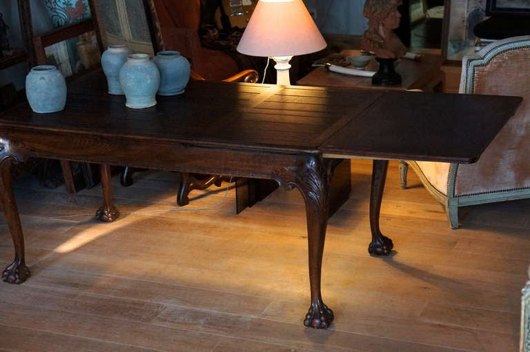 Oak Chippendale Style Extending Dining Room Table For Sale 4