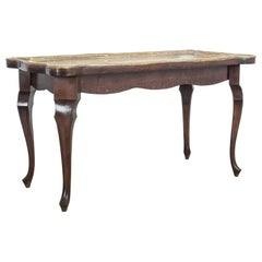 Oak Coffee Table with Brass Top, Germany, circa 1959