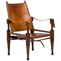 Oak and Cognac Leather Safari Chair by Wilhelm Kienzle for Wohnbedarf, 1950s