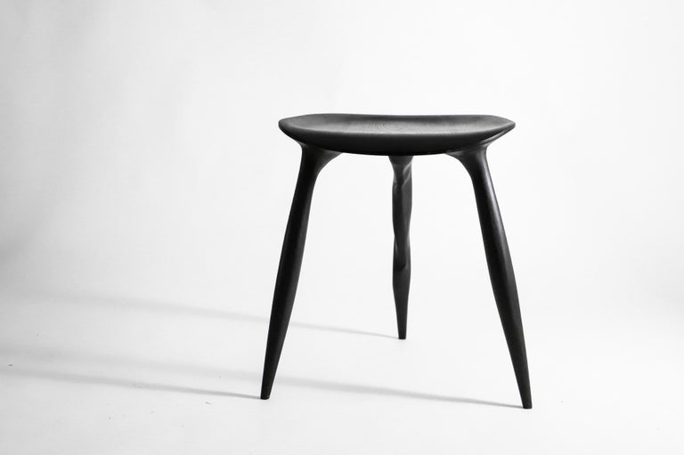 Oak Console Desk with Stool, Hand-Sculpted by Cedric Breisacher For Sale 4